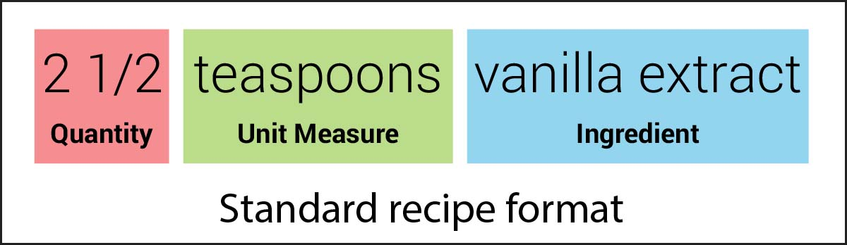 Image of an ingredient line in standard recipe format