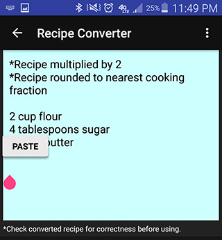 Image of pasting the instructions into the converted recipe area